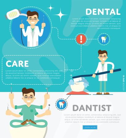 medical doctors: Dental infographics of vector illustration of dentist office or clinic Illustration