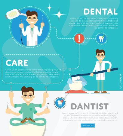 odontologo: Infografía dentales de ilustración vectorial de oficina del dentista o clínica