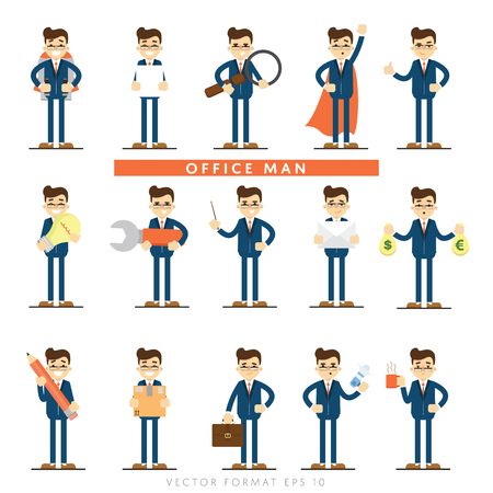 Set of diverse isolated vector office people full lenth Vettoriali