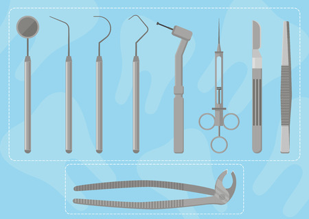 instrumental medico: Profesional Medical Instruments dentista, ilustraci�n vectorial. Vista superior.