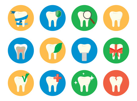 tooth icon: Set of vector icons patients and healthy teeth.