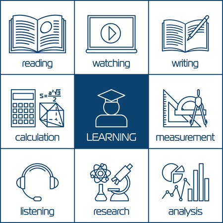 learning icon: Design vector linear icons concepts of learning, distance education or online training courses. For Web sites and print materials.