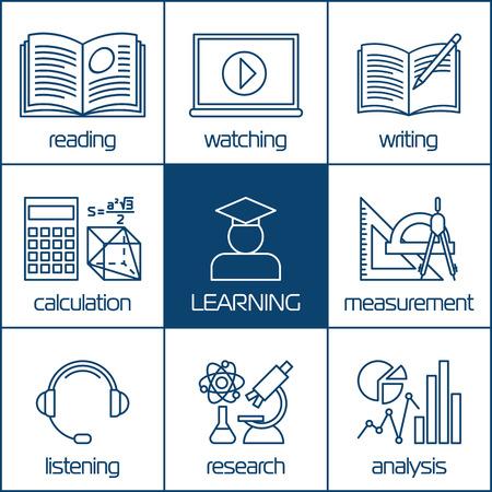aprendizaje: Diseño de vectores iconos lineales conceptos de aprendizaje, la educación a distancia o cursos de formación en línea. Para los sitios Web y los materiales de impresión.