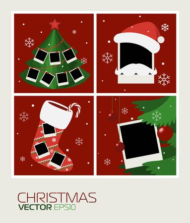 polaroid frame: Set Polaroid photos to edit your photos. Christmas theme. Illustration