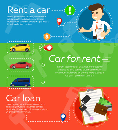 buying a car: Rent a cars and trading Cars in flat design web banners elements. Keys to the car on rent. Rental car infographic. Web design elements.