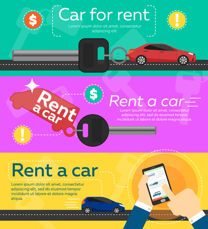 salesmen: Rent a cars and trading Cars in flat design web banners elements. Keys to the car on rent. Rental car infographic. Web design elements.