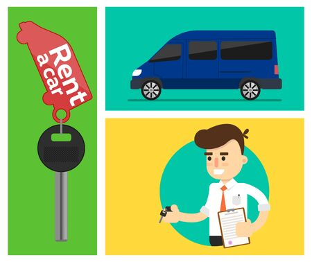 service man: Rent a cars and trading Cars in flat design web banners elements. Keys to the car on rent. Rental car infographic. Web design elements.