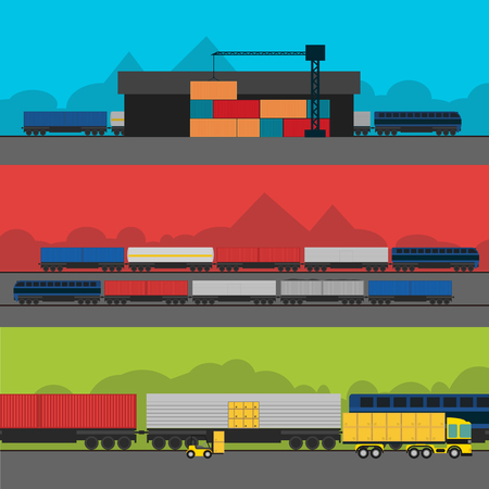 aplication: Logistic Infographics banners set for Web or Mobile aplication. Process of Delivery abstract goods by rail.