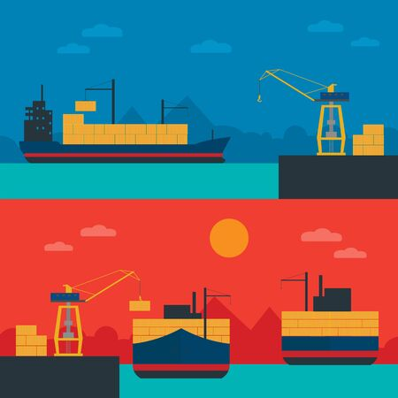 sea port: Logistic Infographics banners set for Web or Mobile aplication. Process of Delivery abstract goods in sea port.
