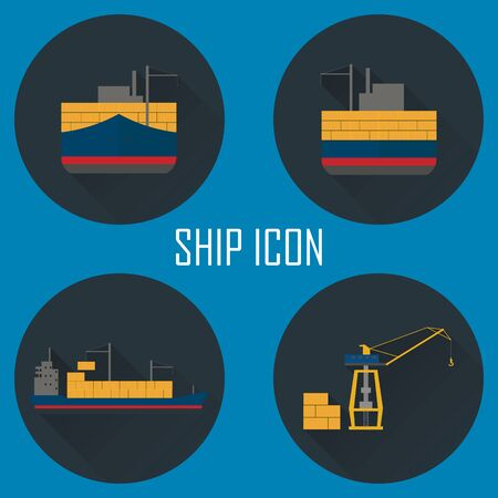 sea port: Logistic icon set. Process of Delivery abstract goods by the ship to sea port.