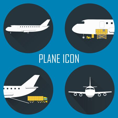 freight container: Logistic icon set. Process of Delivery abstract goods by the plane. Stock Photo