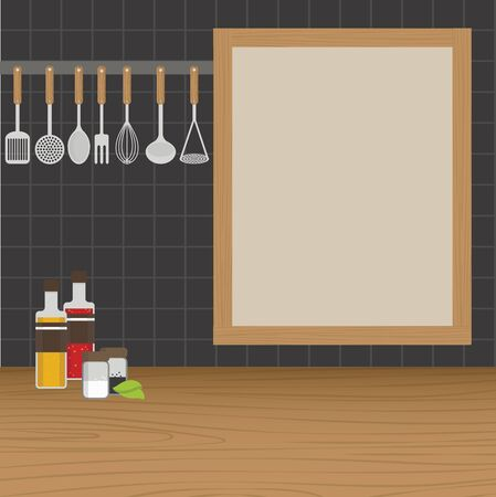 weighs: Kitchen utensils weighs on a wall in the kitchen