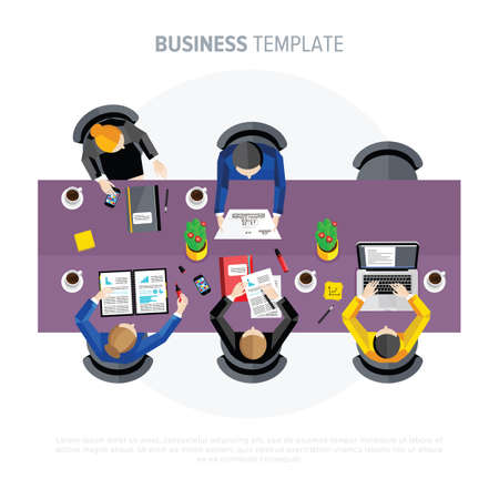 negotiations: Business negotiations. People sit at the table. Stock Photo