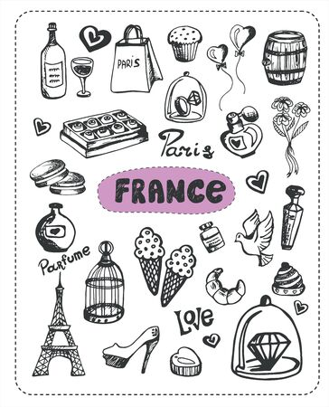 parfum: Doodle about France. A set of elements of France. Stock Photo