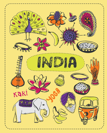 buddha lotus: Doodle about India. A set of elements of India. Stock Photo