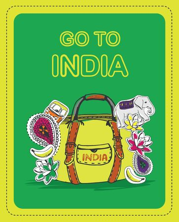 indian spices: Poster for tourists on the theme of India with the inscription - Go to India