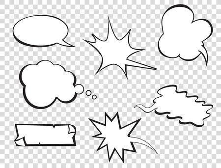 Set of pop art comic speeches vector bubble. Pop-art bubble bundle. Vettoriali