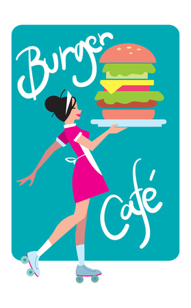 carries: Girl in vintage style carries a burger to order. Delivery burgers. Fast food in a flat style, vector graphics.