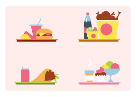 meal: Sets with fast food on a tray. Set of vector illustrations fast food meal. Fast food in a flat style, vector graphics. Illustration