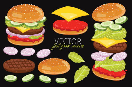 cheese burger: Isolated burgers with burgers ingredients. Classic Burger on a black background. Elements for design burger menus and graphic elements.
