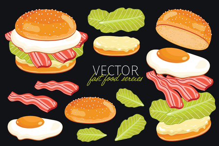 gourmet burger: Isolated vector burgers with burgers ingredients egg, bacon and other. Burger on a black background. Elements for design burger menus and graphic elements. Illustration