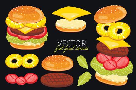 hamburguesa: Hamburguesas aisladas con ingredientes hamburguesas pi�a. Hamburguesa en un fondo negro. Elementos para el dise�o de los men�s de hamburguesas y elementos gr�ficos. Vectores