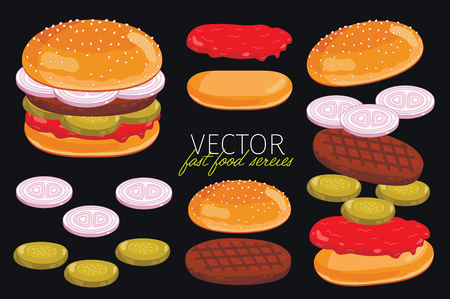 beef burger: Isolated burgers with burgers ingredients. Burger on a black background. Elements for design burger menus and graphic elements.