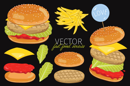 classic burger: Isolated chicken burgers with burgers ingredients. Chicken Burger on a black background. Elements for design fast food menus and graphic elements.