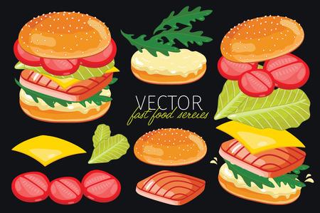 hamburguesa: Hamburguesas de pescado aislados con ingredientes hamburguesas. Hamburguesa de pescado sobre un fondo negro. Elementos para el dise�o de los men�s de hamburguesas y elementos gr�ficos. Vectores
