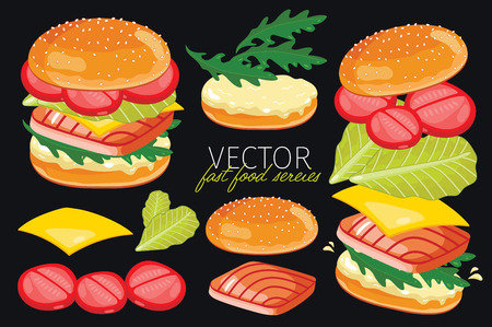 burger: Isolated fish burgers with burgers ingredients. Fish Burger on a black background. Elements for design burger menus and graphic elements.