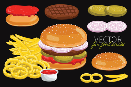 classic burger: Isolated classic burgers set and french fries. Classic Burger on a black background. Elements for design fast food menus and graphic elements.