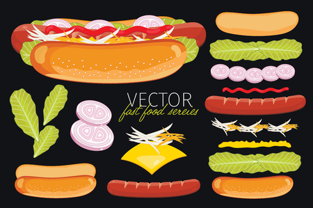 Hot Dog. Ingredients set of hot dog. Elements of fast food menu. Illustration