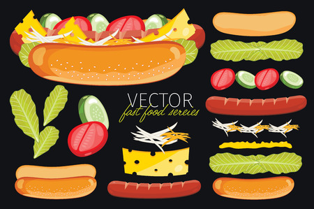 hot background: Hot Dog. Ingredients set of hot dog. Elements of fast food menu. Illustration