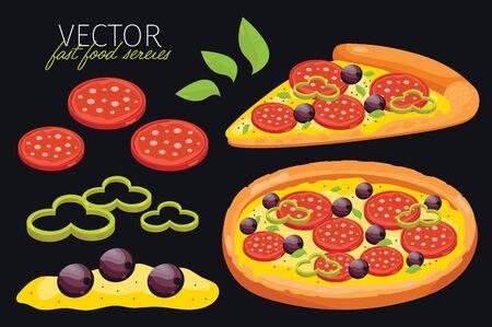 pizza: aislado pizza de pepperoni. Conjunto de elementos gráficos de pizza y pizzas ingrediente. serie de comida rápida. elementos gráficos para el menú de comida rápida.