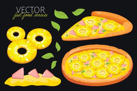 pizza: aislado pizza de piña. Conjunto de elementos gráficos de pizza y pizzas de ingredientes. Serie de comida rápida. Elementos gráficos para menú de comida rápida.