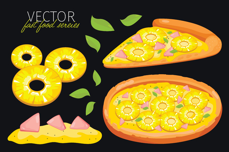 pizza: pineapple pizza isolated. Set of graphic elements of pizza and pizzas ingredient. Fast food series. Graphic elements for fast food menu.