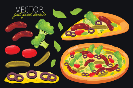 pizza: aislado pizza de salchicha. Conjunto de elementos gráficos de pizza y pizzas ingrediente. serie de comida rápida. elementos gráficos para el menú de comida rápida.