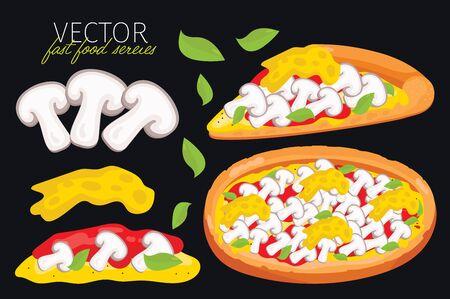 pizza: aislado setas pizza. Conjunto de elementos gráficos de pizza y pizzas ingrediente. serie de comida rápida. elementos gráficos para el menú de comida rápida.