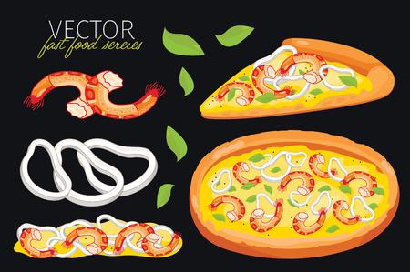mariscos: aislado pizza de marisco. Conjunto de elementos gr�ficos de la pizza de mariscos y pizzas de ingredientes. Serie de comida r�pida. Elementos gr�ficos para men� de comida r�pida.