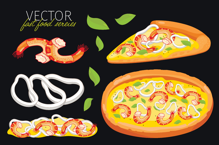 pizza crust: seafood pizza isolated. Set of graphic elements of seafood pizza and pizzas ingredient. Fast food series. Graphic elements for fast food menu.