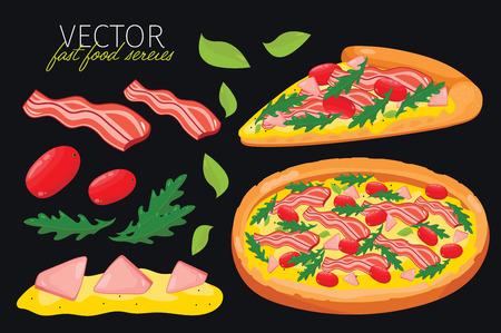 pizza: aislado pizza de tocino. Conjunto de elementos gráficos de la pizza tocino y pizzas de ingredientes. Serie de comida rápida. Elementos gráficos para menú de comida rápida. Vectores