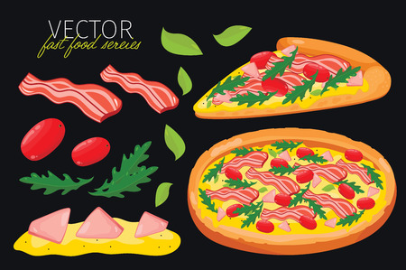 pizza crust: bacon pizza isolated. Set of graphic elements of bacon pizza and pizzas ingredient. Fast food series. Graphic elements for fast food menu. Illustration