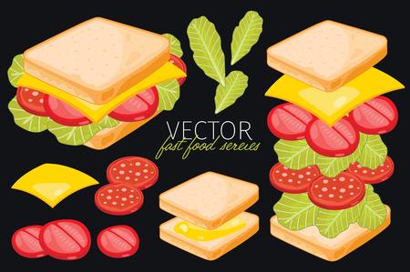 bocadillo: Sandwich con queso. Ingredientes conjunto de s�ndwich. Vectores