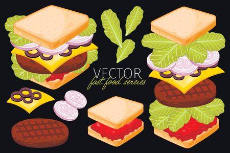 bocadillo: Emparedado. Ingredientes conjunto de s�ndwich. Vectores