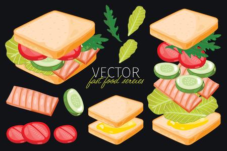 bocadillo: Sandwich de pescado. Ingredientes conjunto de sándwich.