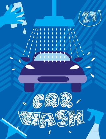 car wash: Car wash  Illustration