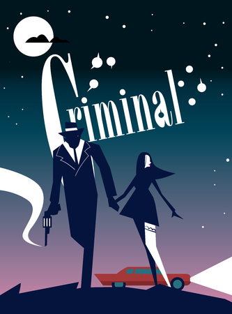 Criminele cinema poster van abstracte film. Affiche voor print design.