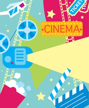 film festival: Abstract poster of movie for design. Vector elements on the theme of movie. Vector illustration of movie. Premiere of movie.