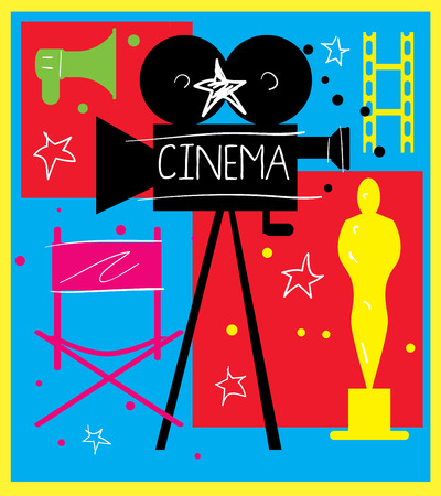premiere: Abstract poster of movie for design. Vector elements on the theme of movie. Vector illustration of movie. Premiere of movie.