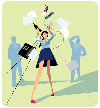 Estrés Office. El estrés laboral en el cargo. El trabajo duro y la gente con exceso de trabajo. La depresión en el trabajo. Personas estresadas. Empleos de ansiedad. Concepto abstracto de trabajo estrés. Ilustración de vector